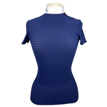 Cavalleria Toscana Perforated Wave Jersey Competition Shirt in Navy