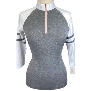 Sport Haley 3/4 Sleeve Shirt in Grey/White - Women's Small