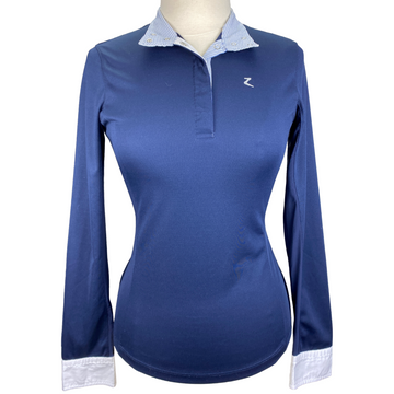 Horze Blaire Long-Sleeved Functional Competition Shirt in Navy/Striped Collar - Women's Medium