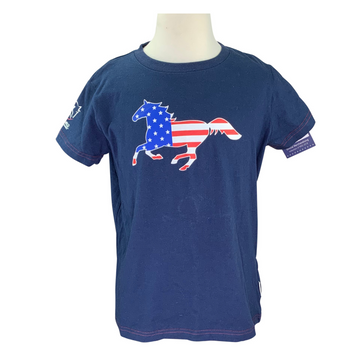 Horseware Summer Tee in Navy and Red/White/Blue Horse