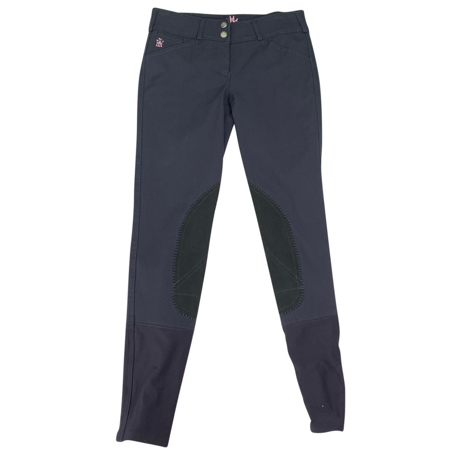 Mastermind Lola Low-Rise Breeches in Charcoal/Rose