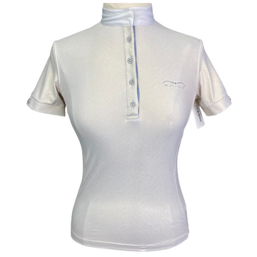 Animo Short Sleeve Competition Shirt in Shimmery Champagne - Women's IT 40 (US 6)