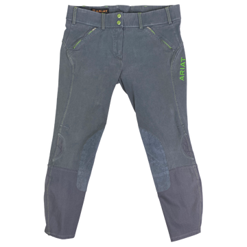 Ariat Prix Knee Patch Breeches in Grey/Green - Women's 30R
