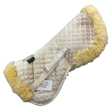 Side of Roma Sheepskin Rolled Edges Half Pad in White