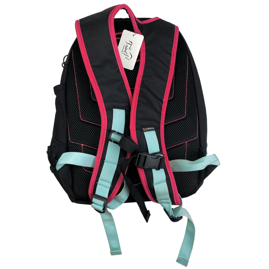 Back of Noble Equestrian Horseplay Backpack in Black/Pink - One Size