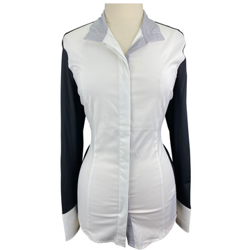 Asmar Equestrian 'Sonoma' Cooling Show Shirt in White/Black - Women's XL