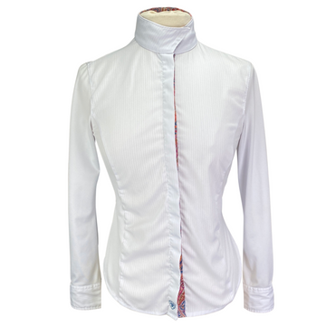 Ariat Pro Series Show Shirt in White/Multi Collar - Women's 32 (XS)