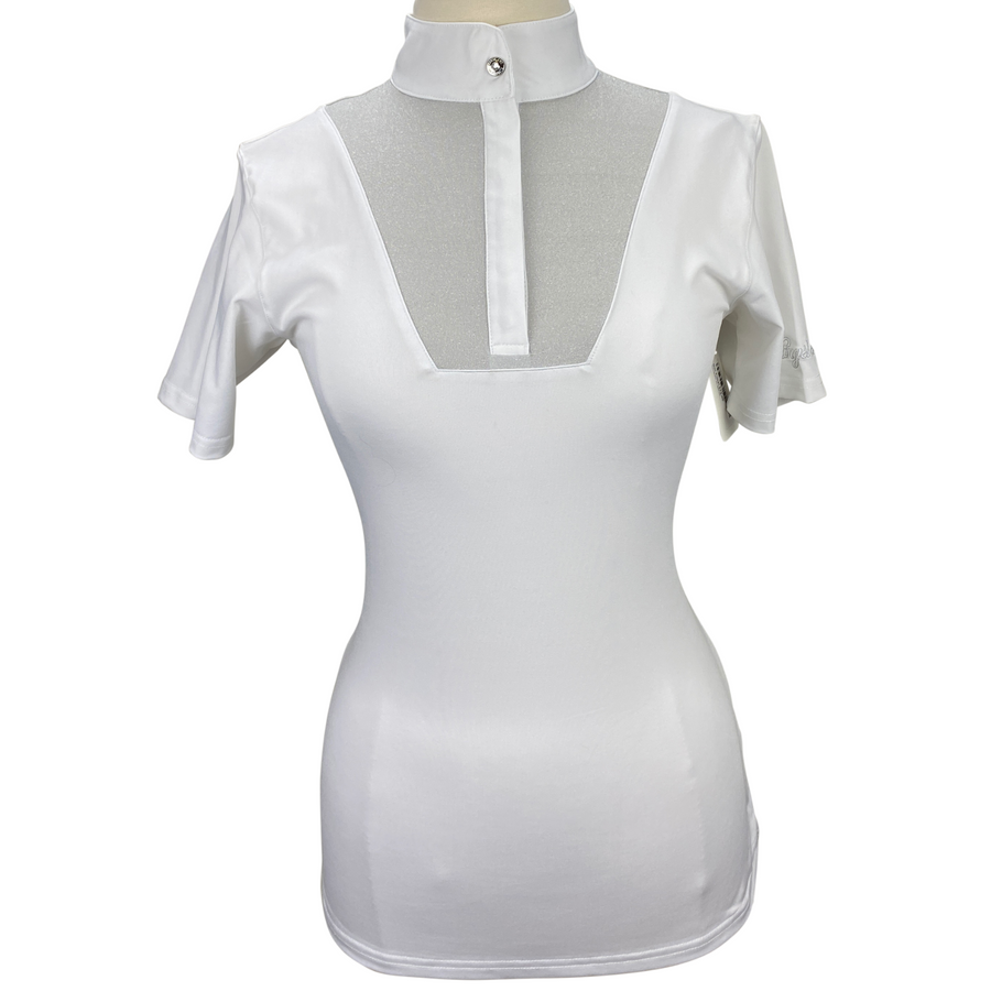 Kingsland Short Sleeve Competition Top in White/Sparkle - Women's Large