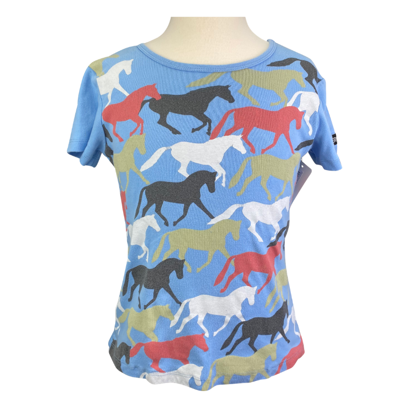 Kerrits Horse Tee in Blue/ Multi Horse - Children's Medium