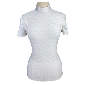 Front of Cavalleria Toscana Perforated Wave Short Sleeve Show Shirt in White