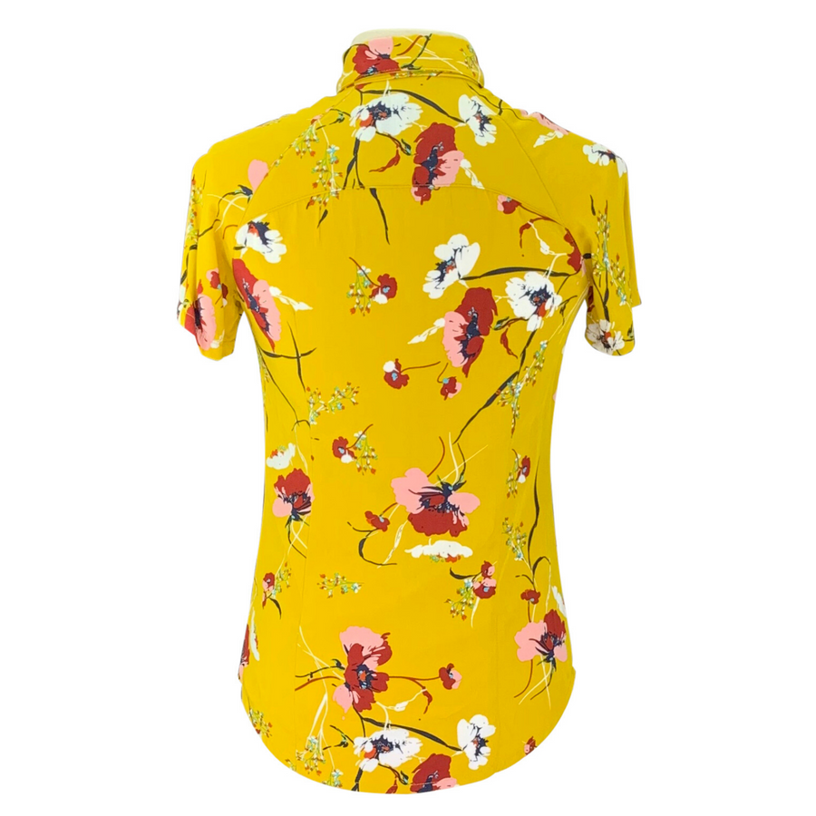Back of Street & Saddle Floral Horse Camp Short Sleeve in Gold/Floral