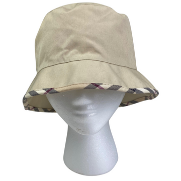Burberry London Nova Bucket Hat in Tan/Plaid Trim