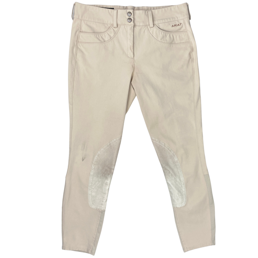 Front of Ariat Olympia Acclaim Knee Patch Breeches in Tan
