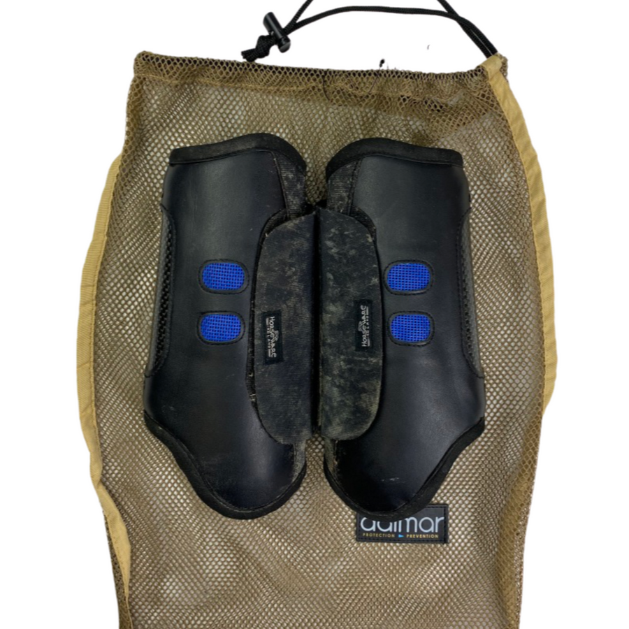 Back of front boots of Dalmar Eventer Horse Boots Set in Black - Medium