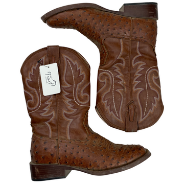 Roper Faux Ostrich Western Boots in Brown - Women's 7