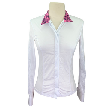 RJ Classics Show Shirt in White/Pink & Black Houndstooth Collar