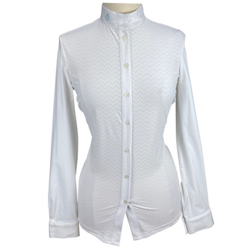 Front of Cavalleria Toscana Perforated Wave Jersey Competition Shirt in White