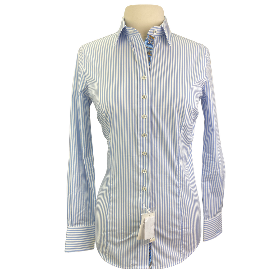 Essex Classics 'Dora' Shirt in Blue+White Stripes - Women's Medium