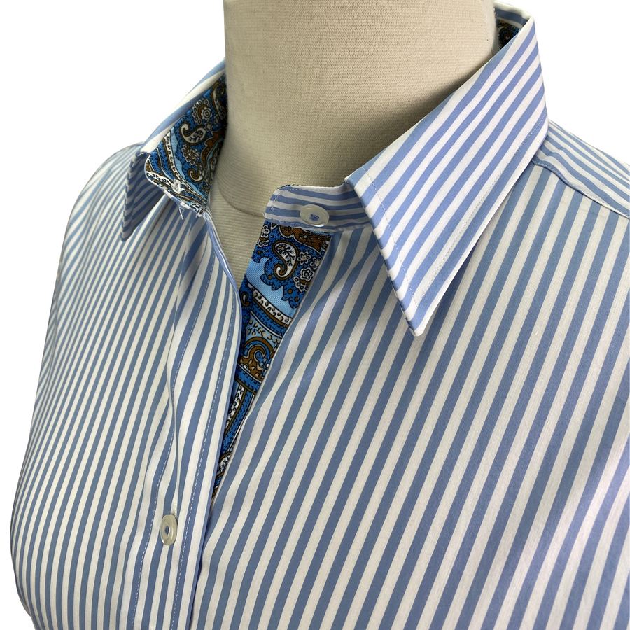 Collar of Essex Classics 'Dora' Shirt in Blue+White Stripes - Women's Medium