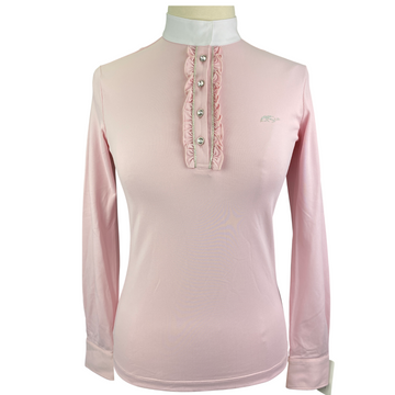 Anna Scarpati Ruffle Show Shirt in Pink - Women's Medium