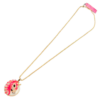 Betsy Johnson Hot Pink Masked Horse Necklace