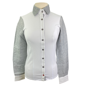 Levade Clothier 'Lauren' Shirt in White/Grey - Women's Small