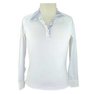 Essex Classic Talent Yarn Show Shirt in White/Stripped Collar