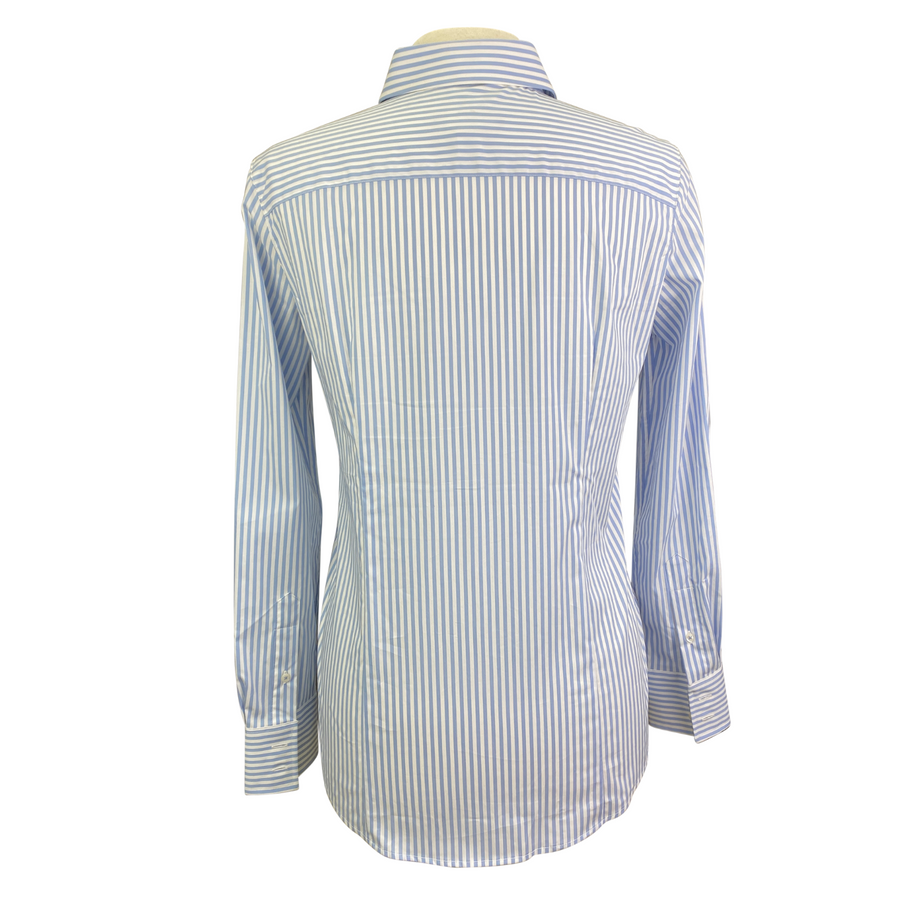 Back of Essex Classics 'Dora' Shirt in Blue+White Stripes - Women's Medium