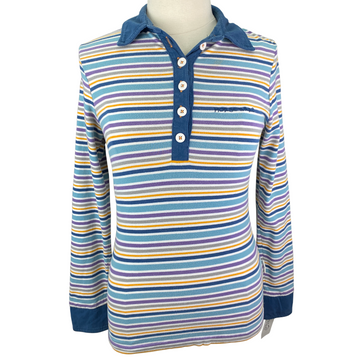 Horseware Striped Long Sleeve Polo in Multi Color - Women's Small