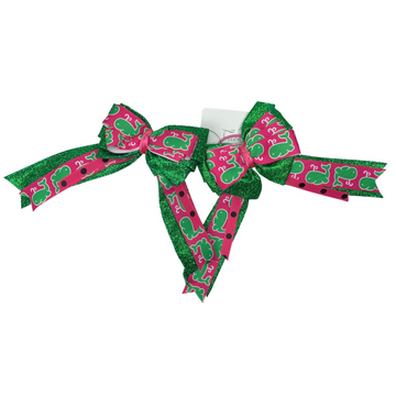 Pony Girl Bows in Pink/Green Whales