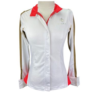F.O.A.L. Button Down Show Shirt in White/Brown/Red - Women's XS