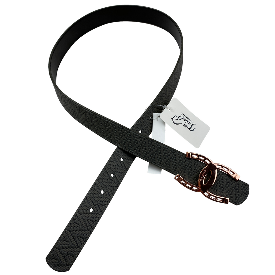 Style Stock Reversible Belt in Grey Print/Black - Medium
