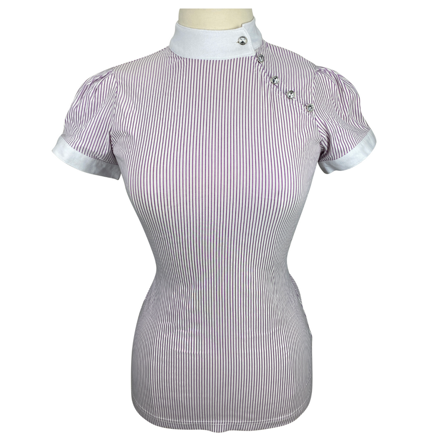 Front of Couture Hippique Side Close Show Shirt in Purple Stripes