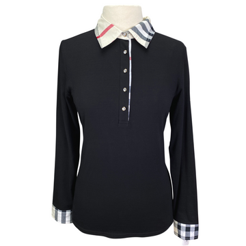 Annie's Equestrienne Apparel Polo Top in Black/Plaid - Women's Large