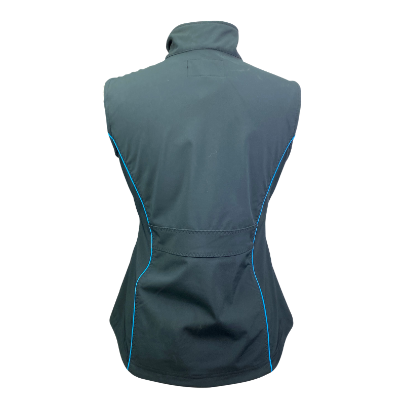 Back of Outback Double Point Vest in Black/Electric Blue Accents - Women's Small