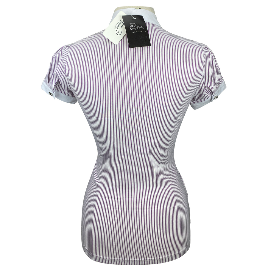 Back of Couture Hippique Side Close Show Shirt in Purple Stripes
