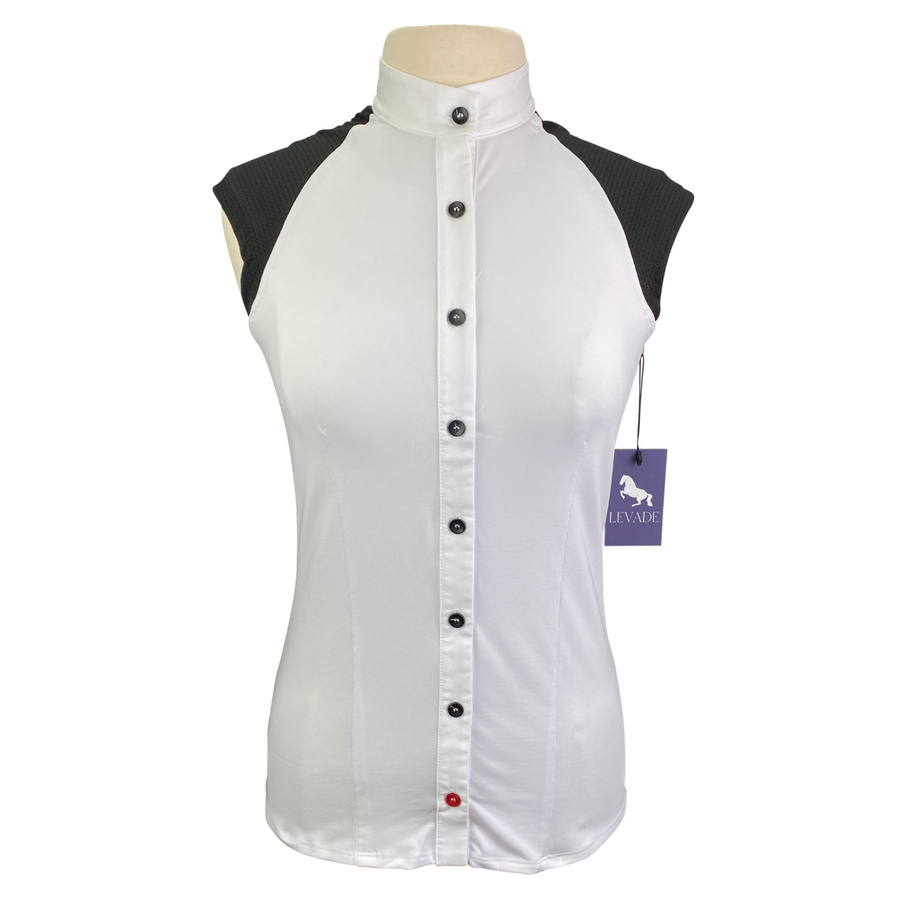 Levade Clothier 'Jackie' Shirt in White/Black - Women's Large