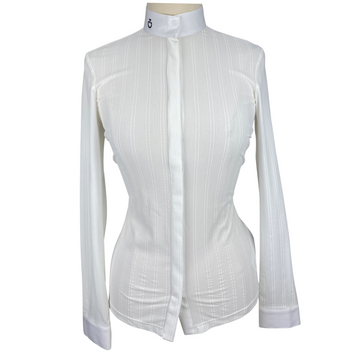 Front of Cavalleria Toscana Embossed Stripe Long Sleeve Shirt in White