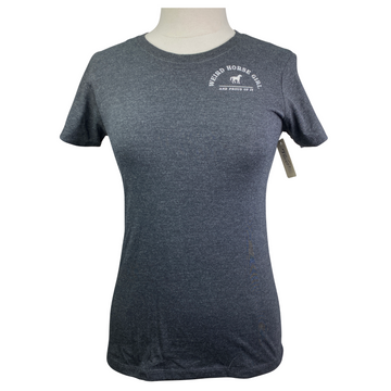 Spiced Equestrian Weird Horse Girl Patch Tee in Charcoal - Women's Small