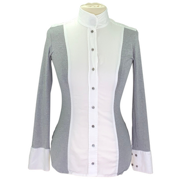 Le Fash Open Placket Shirt in Grey/White