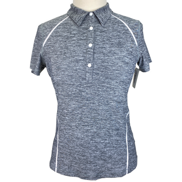 Annika Snap Polo Shirt in Heather Grey - Women's Small