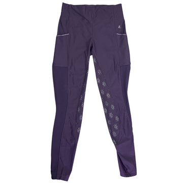 Horze Leah Silicone Grip Riding Tights in Purple