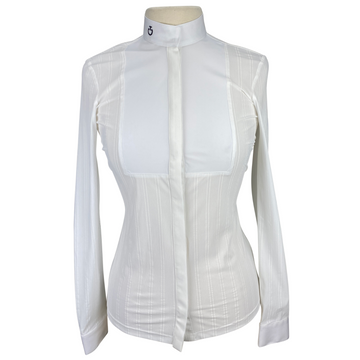 Front of Cavalleria Toscana Embossed Long Sleeve Bib Shirt in White Stripe