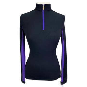 Kastel Charlotte Signature Long Sleeve Shirt in Black/Purple - Women's Small