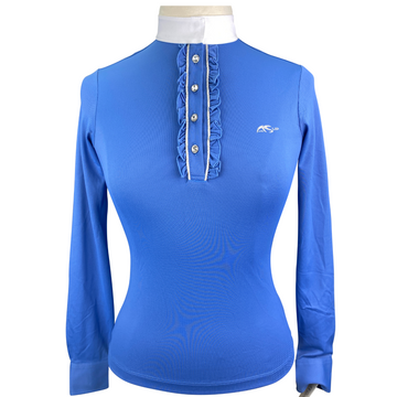 Anna Scarpati Ruffle Show Shirt in Blue - Women's Medium