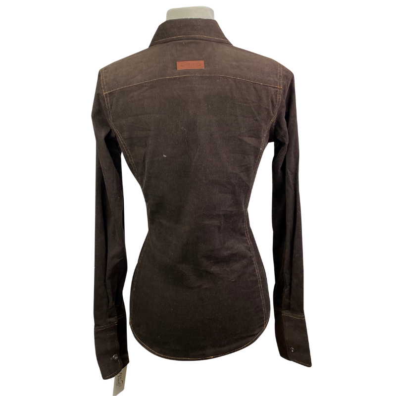 Back of Horseware Corduroy Shirt in Brown - Women's Small