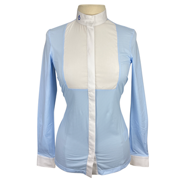 Front of Cavalleria Toscana Embossed Long Sleeve Bib Shirt in Light Blue/White