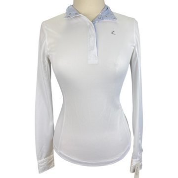 Horze Blaire Long-Sleeved Functional Competition Shirt in White/Striped Collar - Women's Small