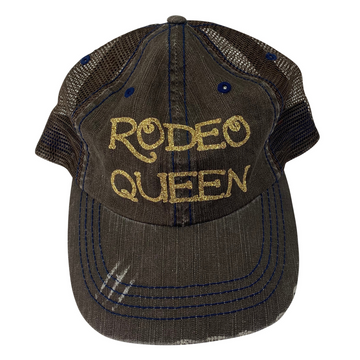 Rodeo Queen Distressed Ladies Baseball Hat in Brown