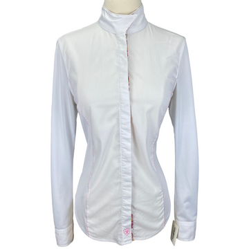 Ariat Long Sleeve Show Shirt in White/Multi Collar - Women's Small